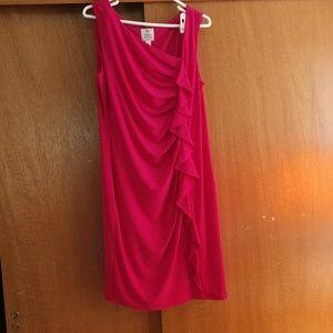 Pink ruffle dress sz 14